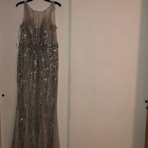 Faviana- grey and silver beaded evening gown